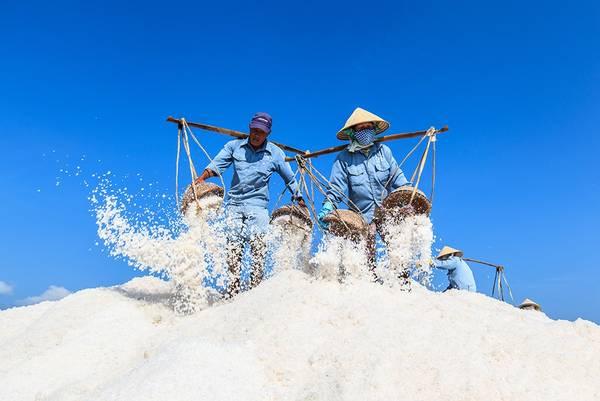 Công nhân trên cánh đống muối ở Hòn Khói, Ninh Hòa, Khánh Hòa. Ảnh: JetHuynh/Picfair.