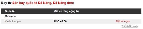 Các chặng bay từ Đà Nẵng