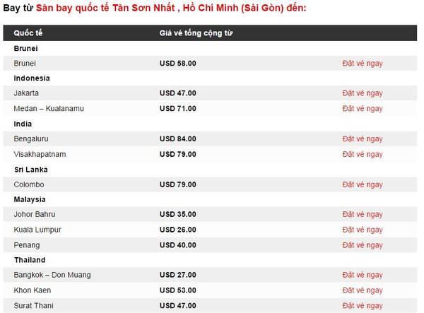 Các chặng bay từ TP Hồ Chí Minh