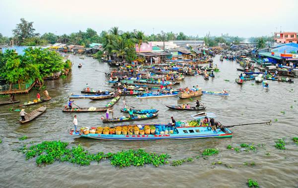 Chợ nổi Ngã Năm. Ảnh: Gomkongdelta