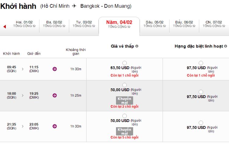 Giá vé bay dịp Tết từ TP HCM tới Bangkok trong dịp Tết  khá rẻ. Ảnh chụp màn hình.