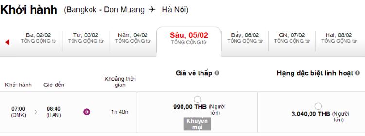 Từ Bangkok bay về Hà Nội giá 990 THB (27 USD)
