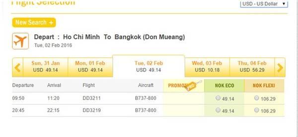Hãng Nokair hiện có bán vé máy bay giá rẻ cho chặng TP.Hồ Chí Minh - Bangkok dịp Tết.