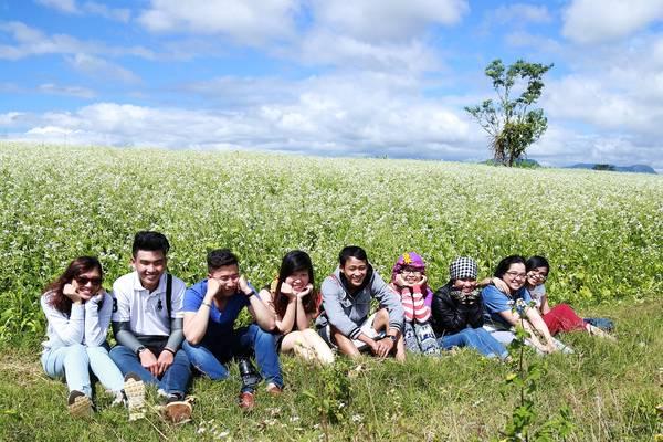 Các bạn trẻ háo hức chụp ảnh trên cánh đồng hoa cải.