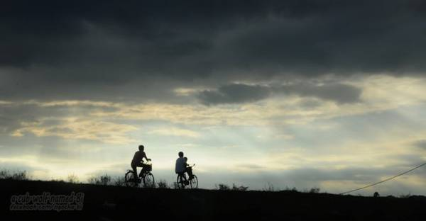 Cuộc sống thanh bình diễn ra ngay trên con đê Tả Lam - Ảnh: Phong Linh