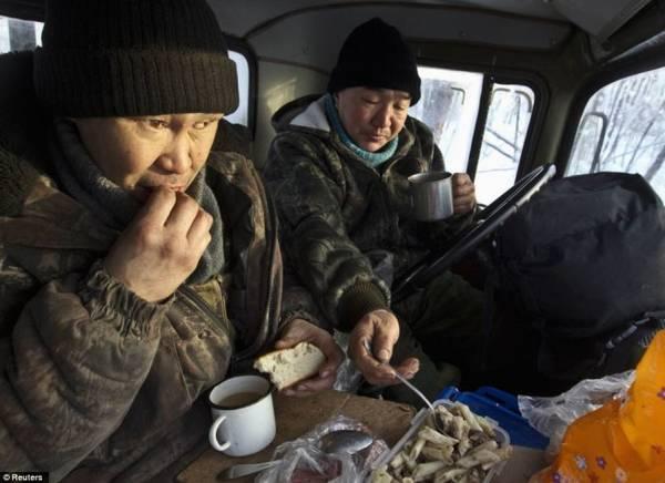 Hai vợ chồng người Nga đang ăn trưa trong cabin xe tải của họ trong khu rừng phía ngoài Tomor - Ảnh: Daily Mail