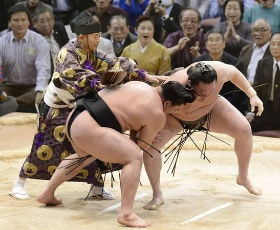 5. Xem đấu võ sumo trực tiếp: Sáu giải đấu sumo lớn được tổ chức hàng năm ở Nhật Bản, rải rác dọc Tokyo, Osaka, Nagoya và Fukuoka với vé được phân phối qua mạng. Những vận động viên sumo đầu tiên được cho là các cựu võ sĩ samurai. Ảnh: Japantimes.