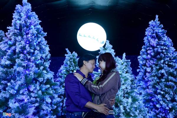 Anh Lân và chị Phương tạo dáng trước rừng thông chụp ảnh. Họ từ Tiền Giang lên, tình cờ biết có khu vui chơi này đã vào thử.