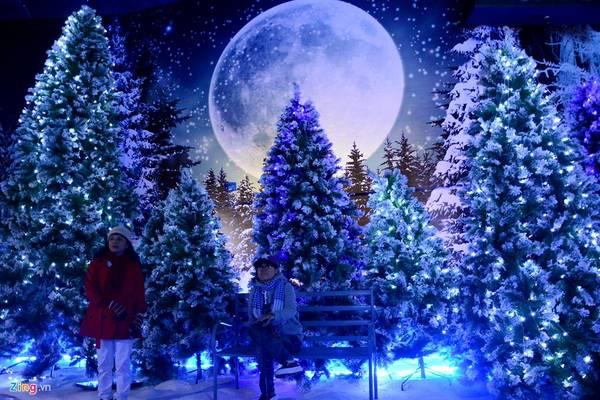 Nơi đây được trang trí theo khung cảnh Giáng sinh châu Âu, rộng 2.000 m2 với rừng thông bao phủ bởi tuyết nhân tạo trắng xóa.