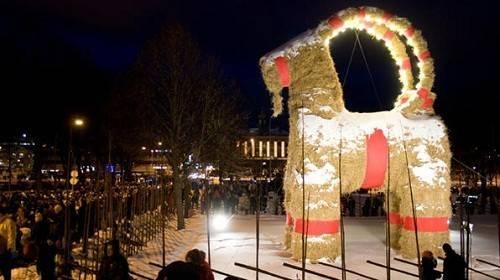 7. Thụy Điển: Ở thị trấn Gavle, Thụy Điển, sau khi đêm Noel kết thúc, mọi người sẽ đốt một con dê bằng rơm khổng lồ (biểu tượng Giáng sinh của người Scandinavia từ nhiều thế kỷ qua) để ăn mừng.