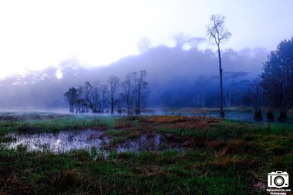 Buổi sáng, phong cảnh như một bức tranh thủy mặc, với sương la đà trên mặt hồ. Phía xa là những rặng núi bị sương mù bao phủ.