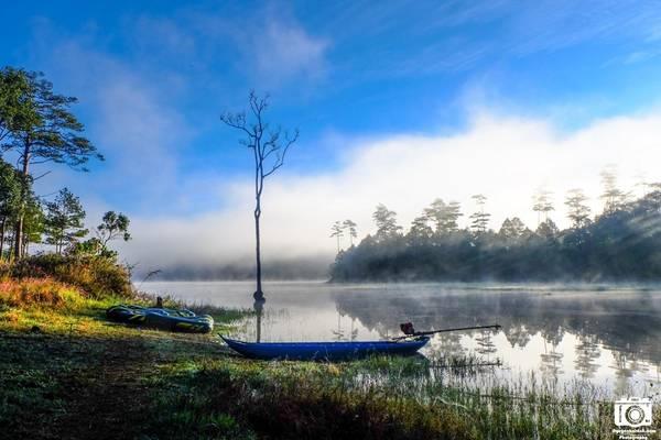 Những chiếc thuyền cao su, thuyền gỗ và cây cô đơn càng làm cho phong cảnh thêm phần thi vị.