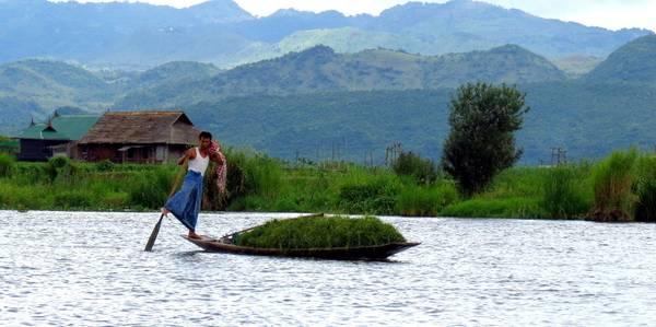Hồ Inle là nơi được biết đến nhiều nhất bởi những ngư dân với phương thức đánh bắt cá độc đáo, chỉ chèo thuyền bằng một chân. Ảnh: myanmartravelandtours.net