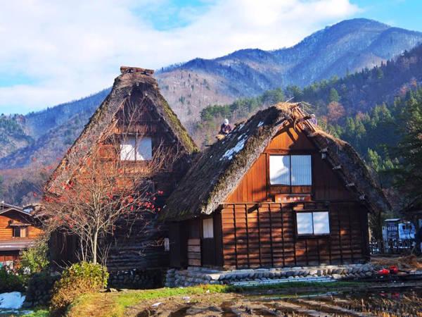 Những ngôi nhà bình yên của Shirakawa trong nắng sớm.