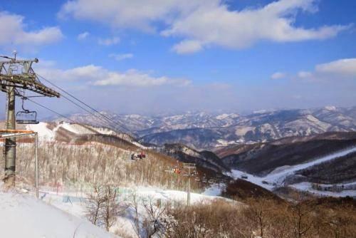 Đường cáp treo nối chân núi Taebaek với khu nghỉ dưỡng. Ảnh: lonelyplanet