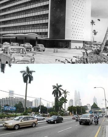 Jalan Henry Gurney (ảnh trên) nay là Jalan Sultan Yahya Petra (ảnh dưới), Kuala Lumpur.