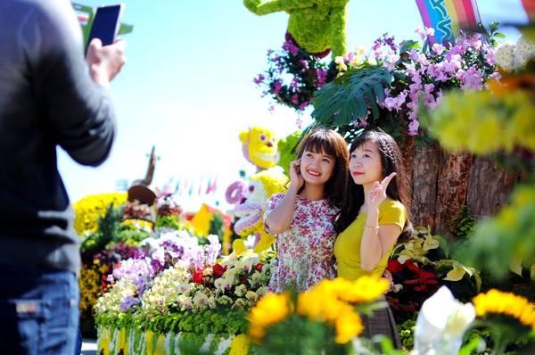 Du khách chìm trong không gian hoa của festival - Ảnh: Lâm Thiên