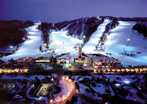 Công viên Daemyung Vivaldi mở cửa từ 8h30 đến 5h sáng hôm sau. Vé thang máy ở đây có giá từ 14.000 đến 85.000 won. Nơi đây có lượng tuyết ổn định với khoảng 13 sườn dốc trượt cho những người chơi từ nghiệp dư hoặc chuyên nghiệp đến luyện tập, giải trí. Ảnh: hotels.