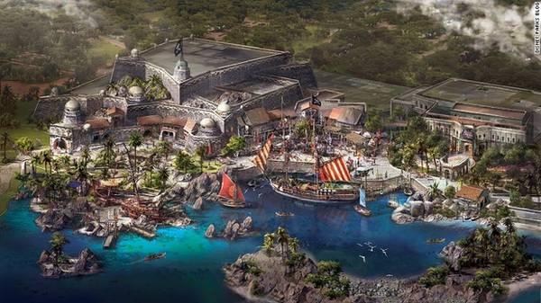 """Disneyland Thượng Hải (Trung Quốc): Các nhân vật nổi tiếng được yêu thích trên toàn thế giới của hãng Walt Disney sẽ xuất hiện ở Trung Quốc vào đầu năm 2016 khi Disneyland Thượng Hải mở cửa. Công viên giải trí này sẽ có 6 khu vực bao gồm cả vịnh kho báu (Treasure Cove) được lấy ý tưởng và cảm hứng từ """"Cướp biển vùng Caribe""""."""
