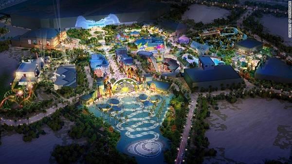 Công viên và khu nghỉ dưỡng Dubai (UAE): Giữa sa mạc khô cằn khu công viên giải trí kết hợp nghỉ dưỡng được xây dựng với diện tích lên tới 2,3 triệu m2. Tới đây du khách sẽ được sống trong các điểm đến tạo dựng y hệt bối cảnh phim bom tấn của Hollywood, Bollywood như The Hunger Games, Shrek… Thế giới giải trí và nghỉ dưỡng này sẽ mở cửa vào tháng 10/2016.