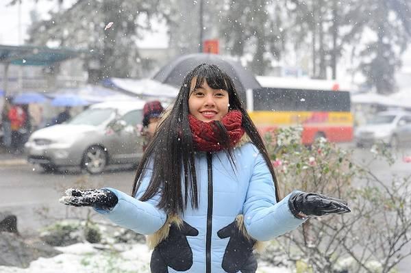 Dù nhiệt độ xuống -3,2 độ C, nhiều du khách lạnh run vẫn không ngại ngần đứng dưới mưa tuyết chụp ảnh.