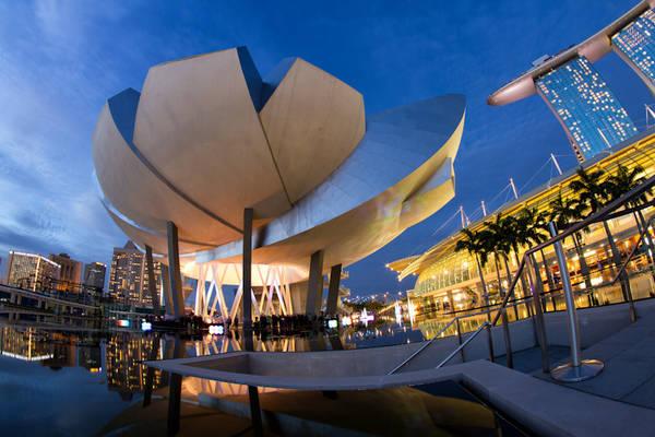 """Với thiết kế được lấy cảm hứng từ hoa sen, bảo tàng Khoa học Nghệ thuật tại Marina Bay Sands là một điểm đến hàng đầu cho các cuộc triển lãm nổi tiếng nhất trên thế giới. Bảo tàng sở hữu 21 phòng trưng bày với các hiện vật """"khủng"""" sẽ đưa khách tham quan có một trải nghiệm tương tác đầy sáng tạo. Ảnh: Shutter wide shut"""