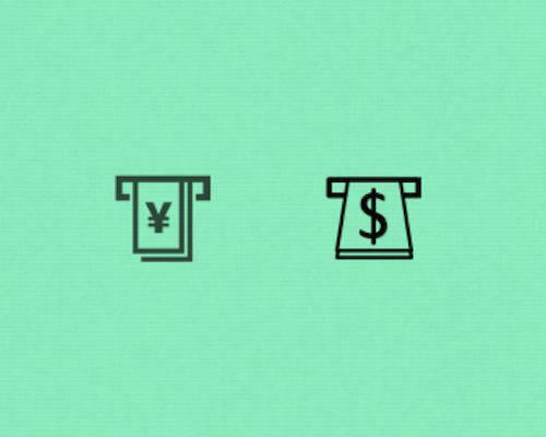 Biểu tượng đổi tiền ngoại tệ cũ (trái) và mới (phải). Ảnh: Fastcodesign.