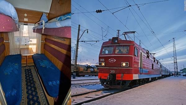 """Những tuyến đường sắt: Tuyến đi xuyên Siberia được coi như """"tuyến đường cả"""" của mọi đường sắt. Nó mở rộng tới 10.000 km qua 7 múi giờ từ Moscow tới cảng ở Vladivostok hướng ra biển Thái Bình Dương, 8.000 km khác qua 5 múi giờ từ Moscow xuyên Ulaanbaantar (Mông Cổ) tới Bắc Kinh, Trung Quốc. Du khách có thể tới Baikal bằng cách dừng ở thành phố Irkutsk."""