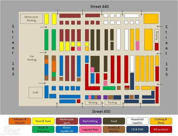 Bản đồ của chợ Nga dành cho du khách tham khảo. Ảnh: Yourphnompenh