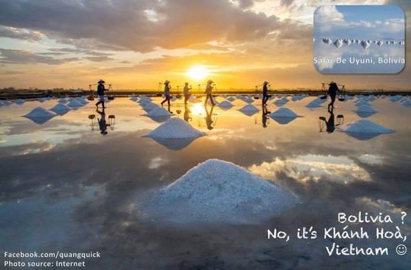 Cánh đồng muối ở Bolivia? Không phải nhé, là Khánh Hoà!