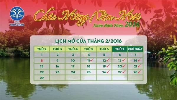 Lịch mở cửa tháng 2/2016. Ảnh: Facebook Du Lịch Sinh Thái Thủy Châu