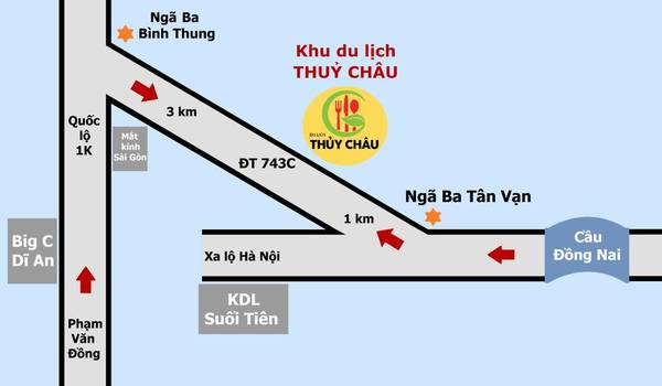 Hướng dẫn đường đi đến Khu du lịch Thủy Châu. Ảnh: Facebook  Du Lịch Sinh Thái Thủy Châu