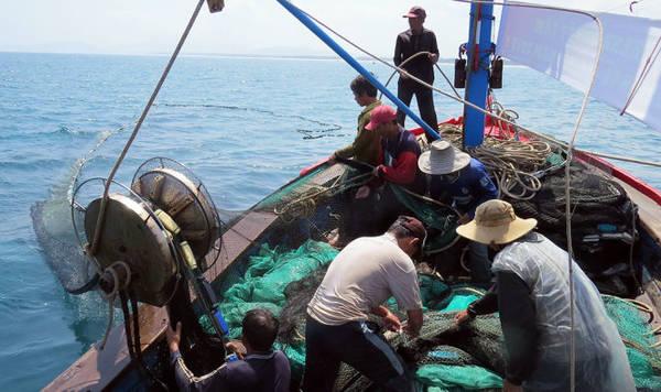 Ngư dân kéo lưới trên biển