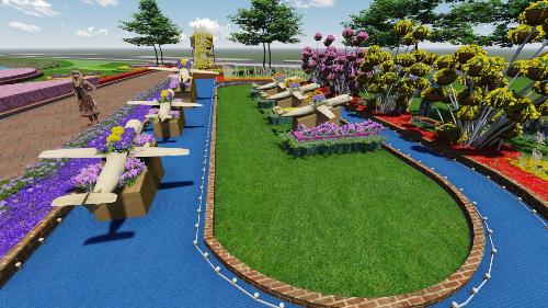 Mô hình dự án xây dựng sân bay Quốc tế Long Thành cũng được đưa vào trong không gian thiết kế thể hiện sự khao khát dự án sân bay Long Thành tại tỉnh Đồng Nai sớm được triển khai thực hiện.