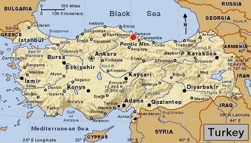 Bản đồ đất nước Thổ Nhĩ Kỳ.