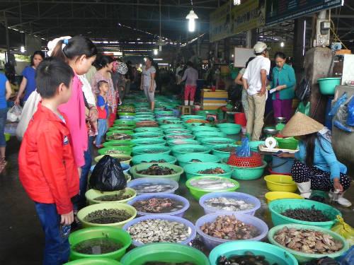 Description: Ấn tượng đầu tiên khi vào chợ Hàng Dương là những thau hải sản được xếp chạy dọc khu chợ để khách tha hồ lựa món ưa thích. Ảnh: Thảo Nghi