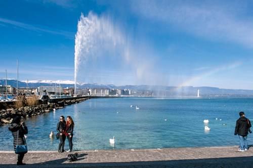 Hồ Geneve, vòi phun nước, thiên nga