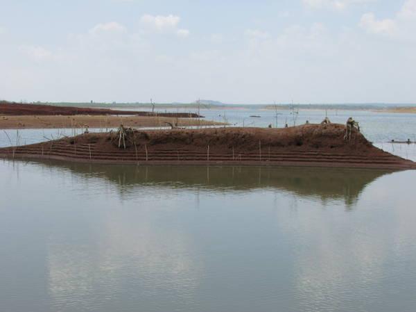 Description: Một đụn đất nhỏ có hình dáng chiếc tàu - Ảnh: Nguyễn Thiên Đăng