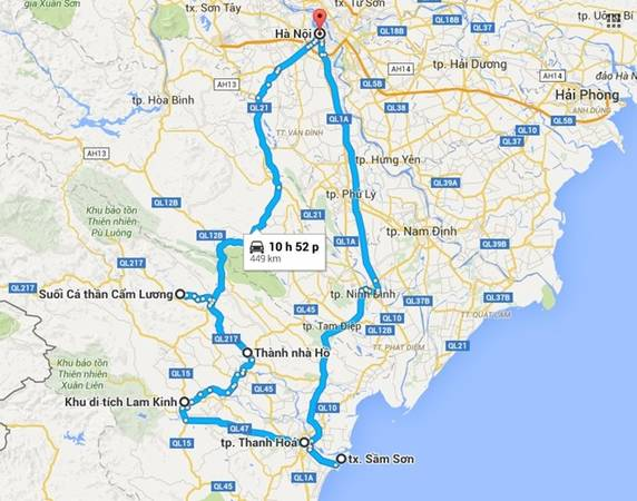 2 con đường để tới Thanh Hóa xuất phát từ Hà Nội.
