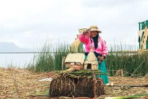 Người dân Uro giới thiệu cách xây dựng nhà bằng cây totoras