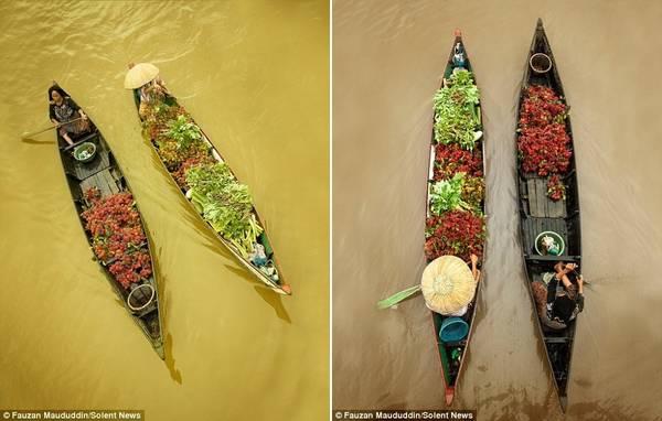 Người dân địa phương mua bán tấp nập trên những con thuyền nhỏ suốt cả ngày. Khi chiều muộn, họ có thể chèo về nhà, hoặc thuê thuyền kéo.
