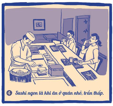 """Đầu bếp Yajima lý giải: """"Ở những nhà hàng sushi lớn, mùi thơm của cá biển mất rất nhanh bởi trần nhà cao quá, khó mà lưu giữ được lâu. Muốn ăn ngon thì bạn nên chọn những nơi trần thấp như quán của tôi đây này, chúng giữ hương vị món ăn rất lâu""""."""