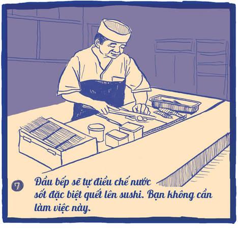 Khâu cuối cùng trước khi đưa sushi cho khách hàng, ông Yajima quét một lớp nước sốt có màu nâu đậm bằng một chiếc chổi lông nhỏ. Thứ nước sốt này được gọi là Nikiri. Nước sốt gồm 70% là xì dầu, 20% rượu mirin và 10% là sake, phải đun sôi cho bay hơi cồn cho đến khi sánh lại là được. Ông không bao giờ dùng xì dầu nguyên chất làm nước sốt vì vị nó quá mạnh. Chớ nên yêu cầu đầu bếp không được quết nước sốt và wasabi lên món sushi.