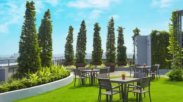 Khu vườn xanh mát trên sân thượng của khách sạn.
