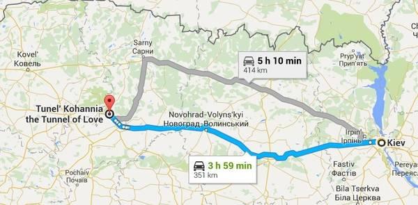 """""""Đường hầm Tình yêu"""" nằm gần khu vực Klevan, cách thủ đô Kiev của Ukraine 414 km, khoảng 5 giờ chạy xe ôtô. Ảnh chụp từ Google Maps."""