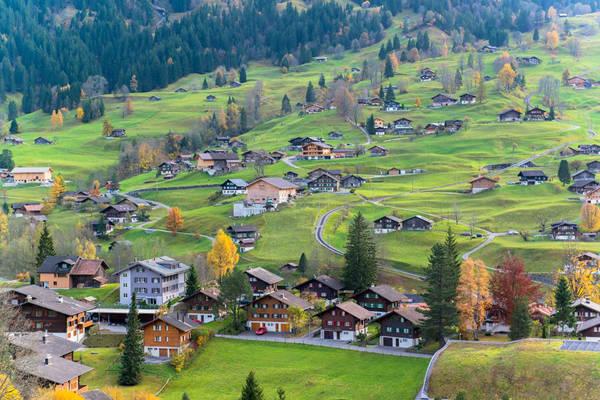 Những ngôi nhà nhỏ trên thảo nguyên ở Thụy Sĩ.