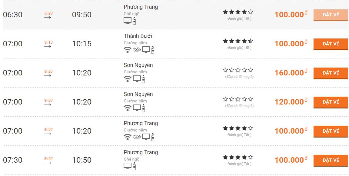 Giá vé xe tham khảo từ Sài Gòn đi Cần Thơ. Ảnh: pasoto.com