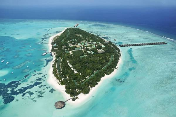Meeru Island Resort & Spa Maldives nhìn từ trên cao. Ảnh:meeru.com