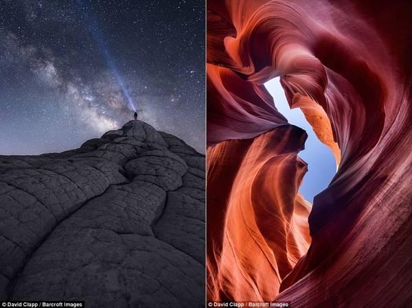 Khung cảnh xuất hiện trong ảnh rất phong phú, như một người đeo đèn pin ở White Pocket (ảnh trái), hay hẻm núi Lower Antelope ở Page, Arizona.