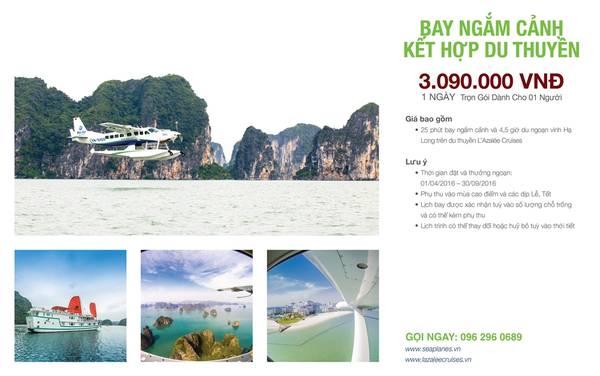 Gói bay ngắm cảnh và du ngoạn trên du thuyền với giá 3.090.000 đồng.